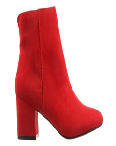 London Rebel One Love Red Suede Ankle Boots