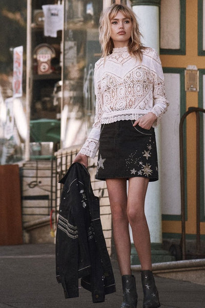 Celestial Embellished Denim Skirt by Spell & The Gypsy