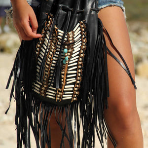 Boho Leather Bag with White Bone Choker and Black Fringe