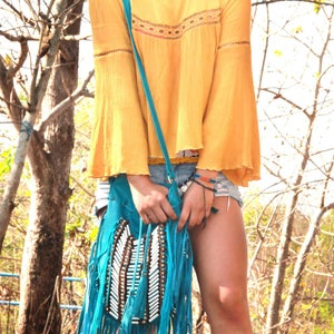 Boho Leather Bag with White Bone Choker and Fringe in Turquoise