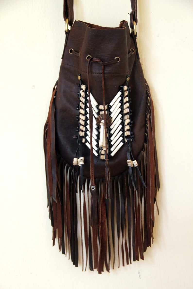 Boho Leather Bag with White Bone Choker and Antique Brown Fringe