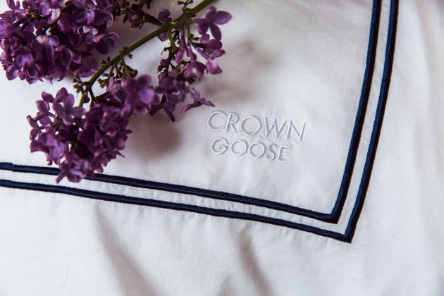 A Royal Night's Sleep with Crown Goose Bedding by Lisa Valerie Morgan
