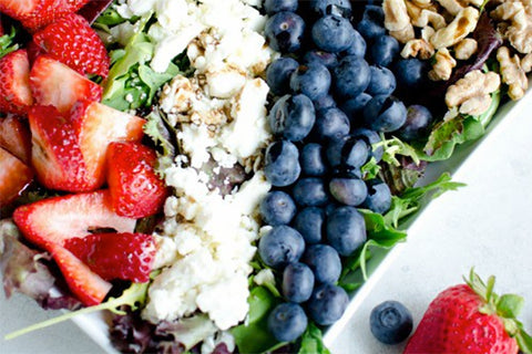Red, White, and Blue Salad With Strawberries, Blueberries, and Feta