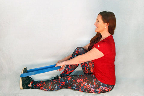 seated calf stretch with band