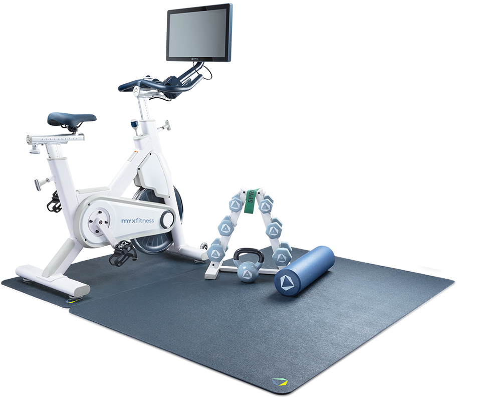 Stationary indoor exercise bikes with home gym equipment