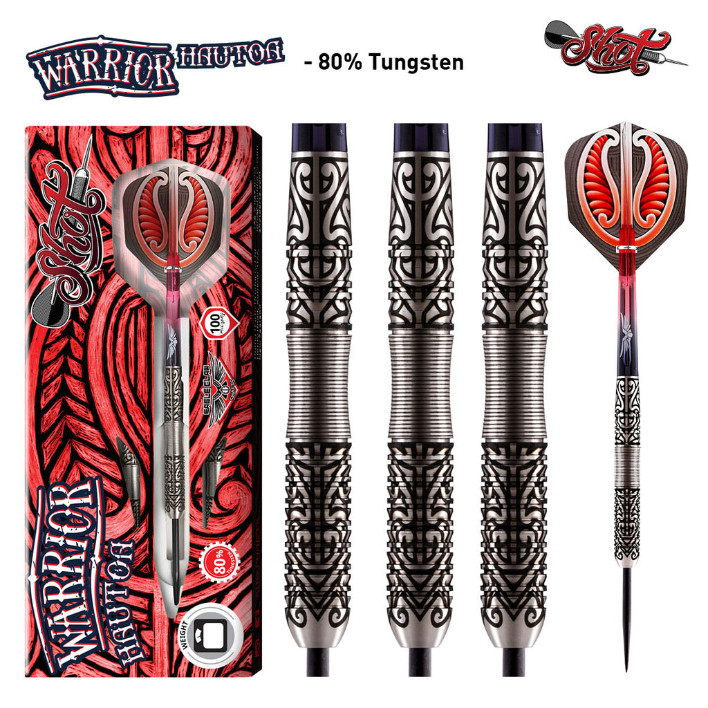 Warrior Hautoa Steel Tip Darts-Centre Weighted 80% Tungsten Barrels-22g