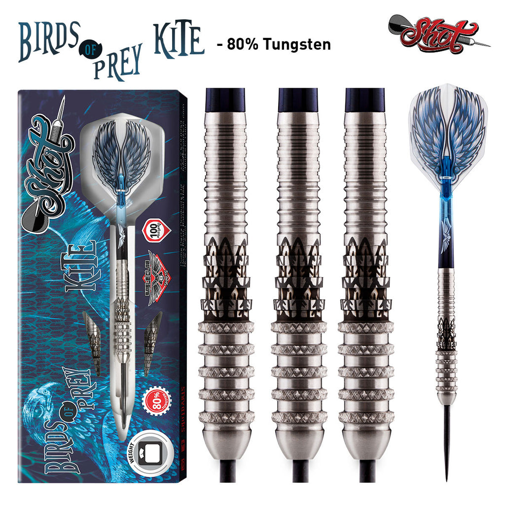 Birds of Prey Kite Steel Tip Darts-Front Weighted 80% Tungsten Barrels-25g