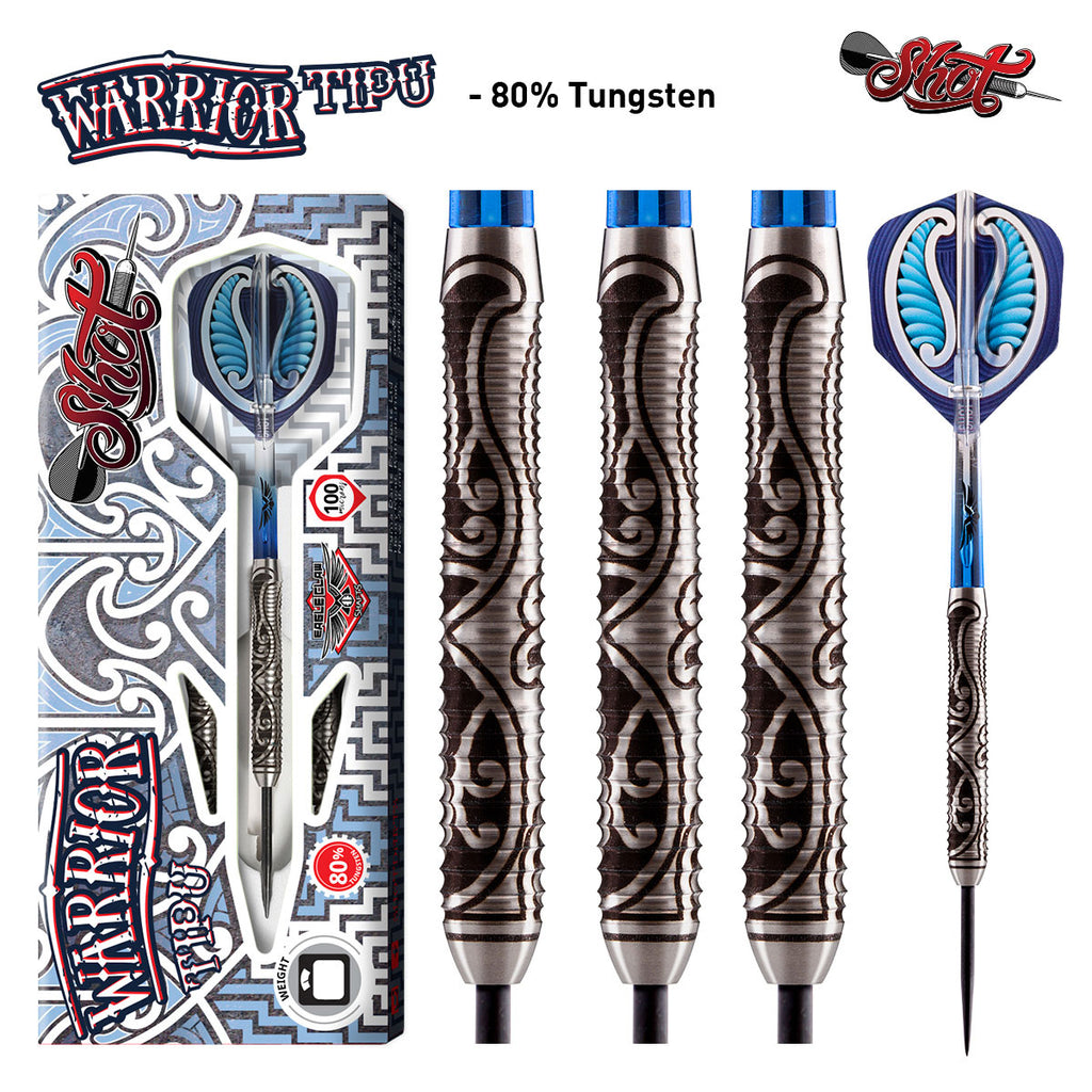 Warrior Tipu Steel Tip Dart Set-Front Weighted 80% Tungsten Barrels-23g