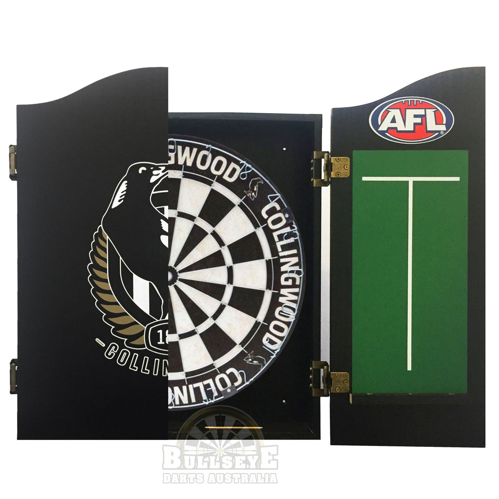 AFL Collingwood Magpies Licensed Dartboard and Cabinet Set