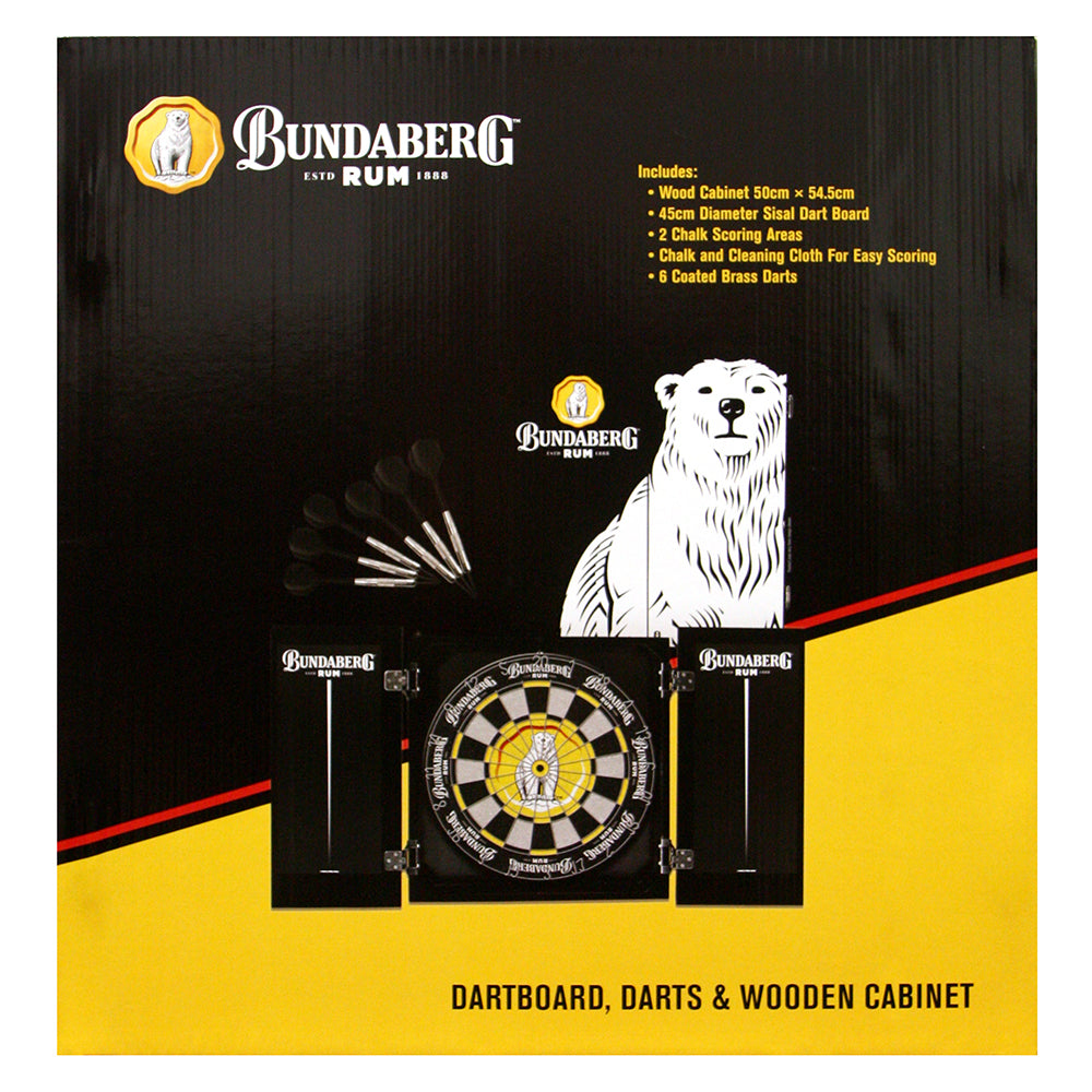 Bundaberg Rum Licensed Dartboard, Cabinet & Darts Set