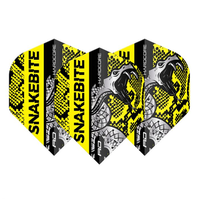 RED DRAGON Peter Wright Snakebite Hardcore Snakeskin Flights - Yellow
