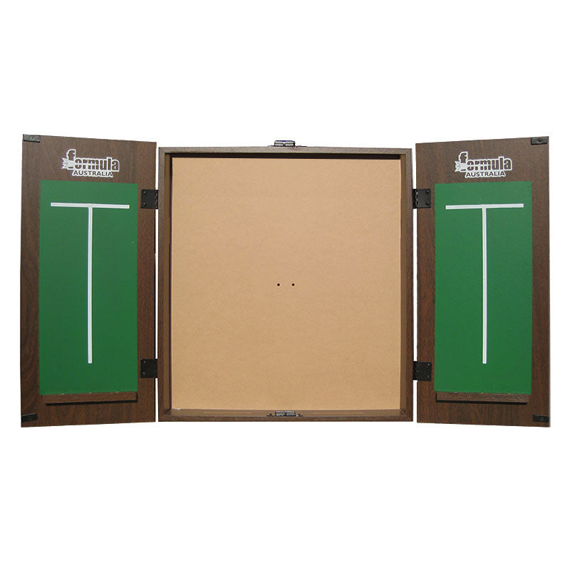 Formula MDF Dartboard Cabinet Walnut with Chalkboards