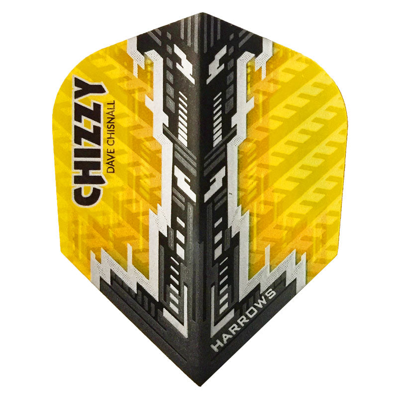 Harrows Dave Chisnall CHIZZY Dart Flights - 100 Micron PRO - Yellow