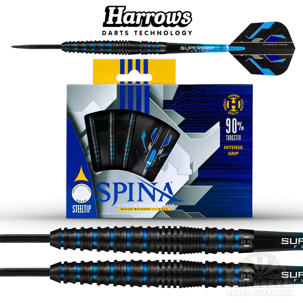 Harrows Spina Black Steel Tip Darts 25g