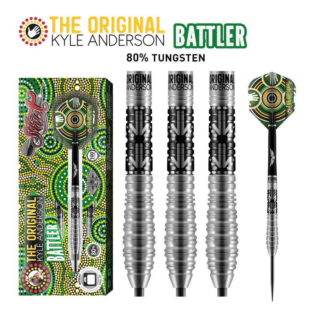 SHOT Kyle Anderson Battler Steel Tip Darts - 80% Tungsten Barrels - 25gm