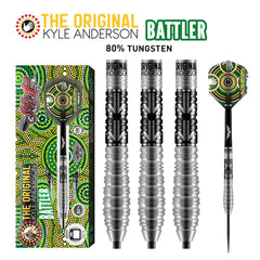 SHOT Kyle Anderson Battler Steel Tip Darts - 80% Tungsten Barrels - 22gm