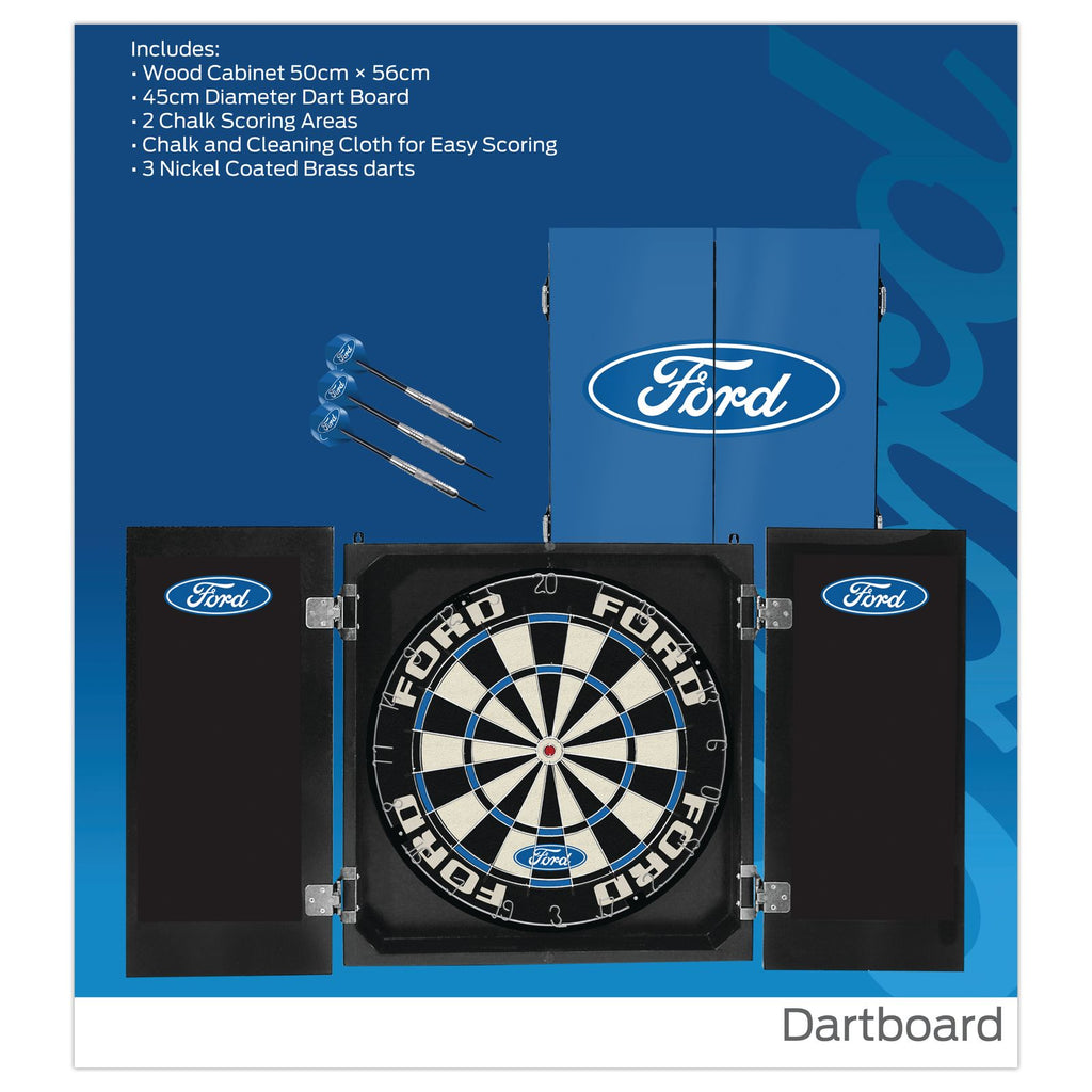 Ford Motorsports Licensed Dartboard, Cabinet & Darts Set