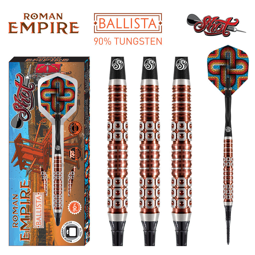 SHOT Roman Empire Ballista SOFT Tip Dart Set-90% Tungsten Barrels - 18g