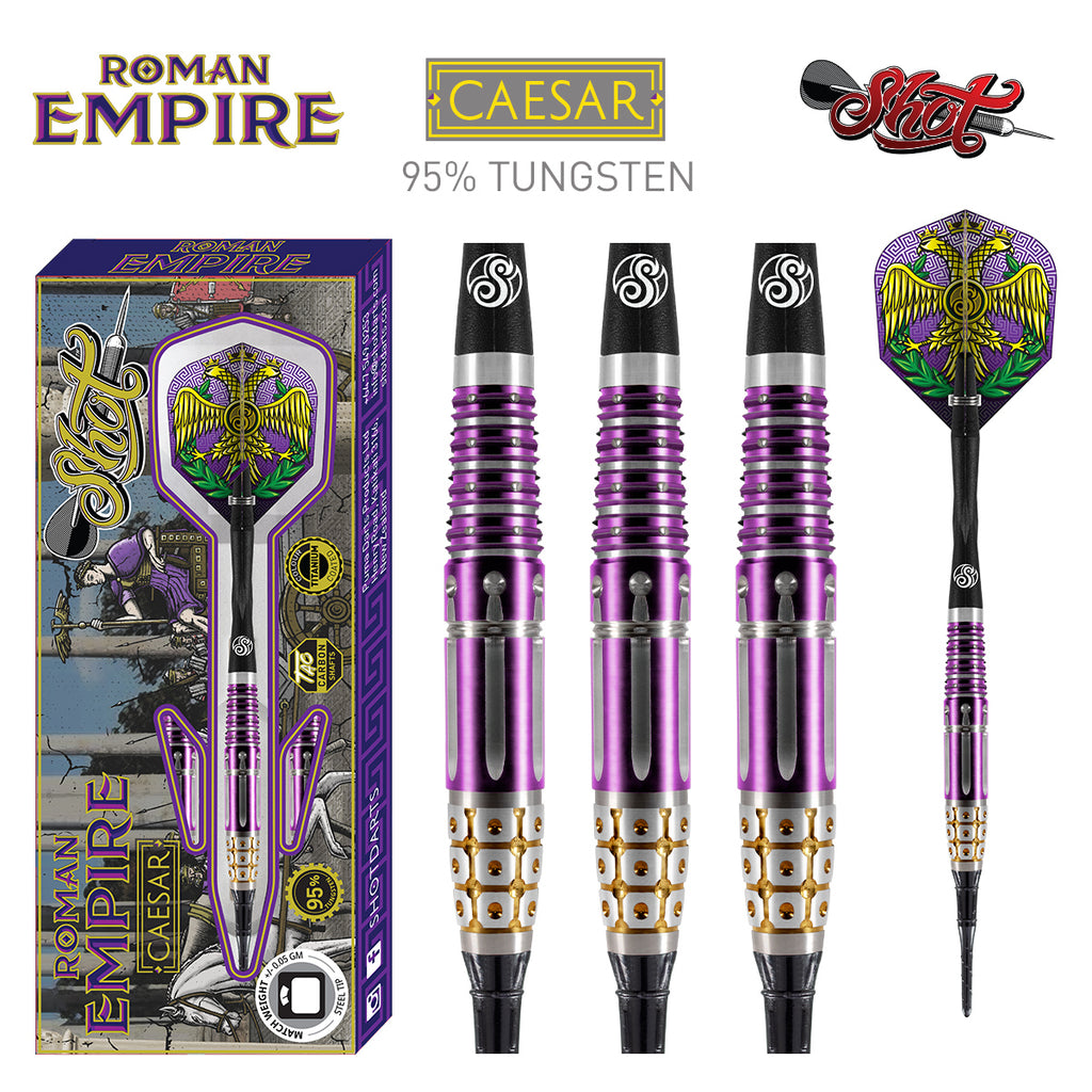 SHOT Roman Empire Caesar SOFT Tip Dart Set-95% Tungsten Barrels - 18g