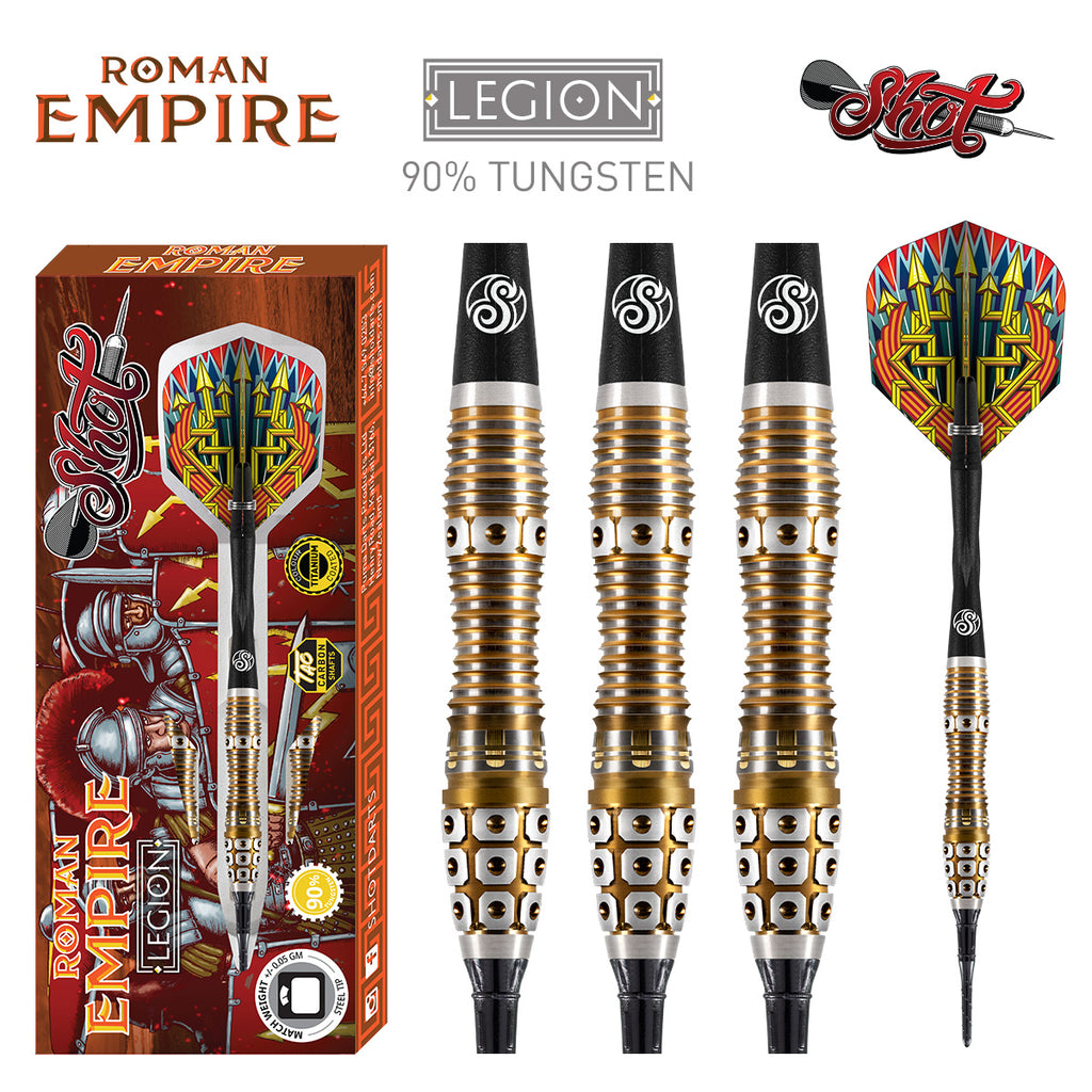 SHOT Roman Empire Legion SOFT Tip Dart Set-90% Tungsten Barrels - 18g