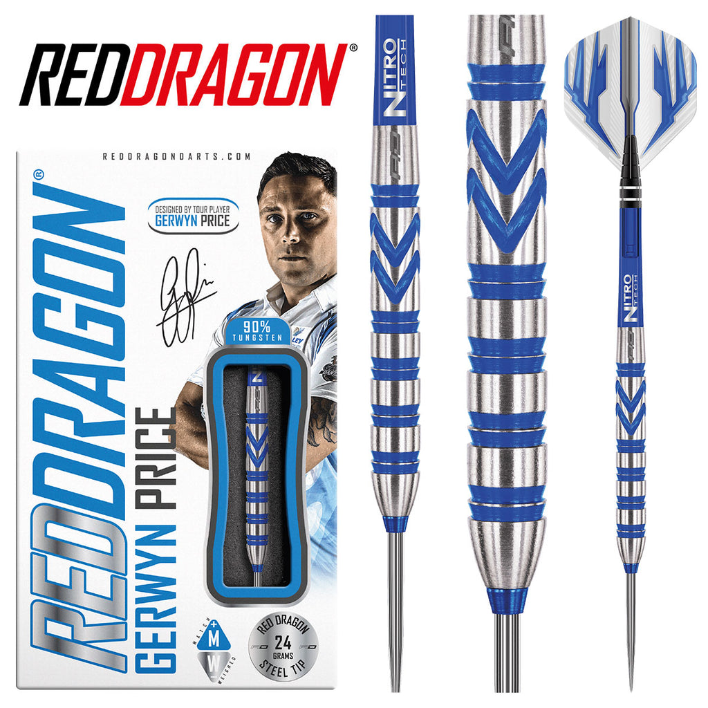 Red Dragon - Gerwyn Price Darts - Blue Razor Grip - 24g