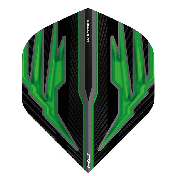 Red Dragon Hardcore Dart Flights Extra Thick - Black & Green