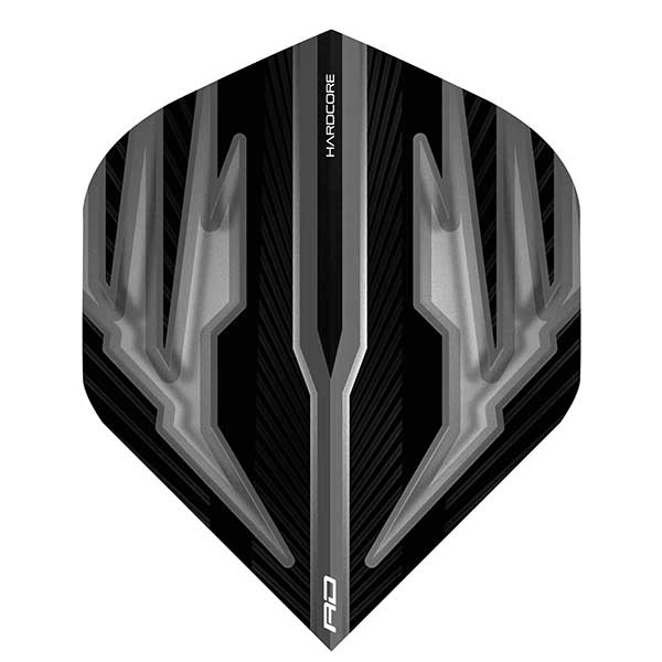 Red Dragon Hardcore Dart Flights Extra Thick - Black & Grey