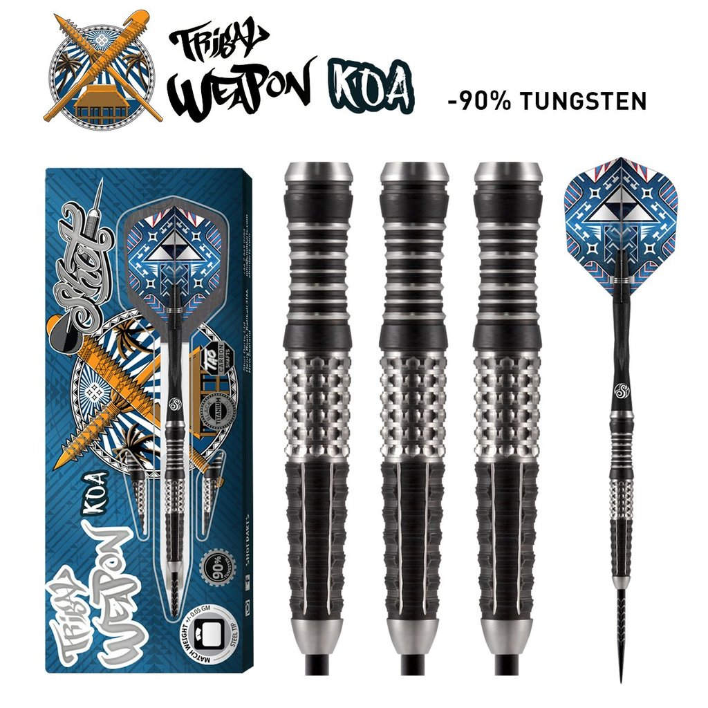 SHOT Tribal Weapon Koa Steel Tip Darts - 90% Tungsten