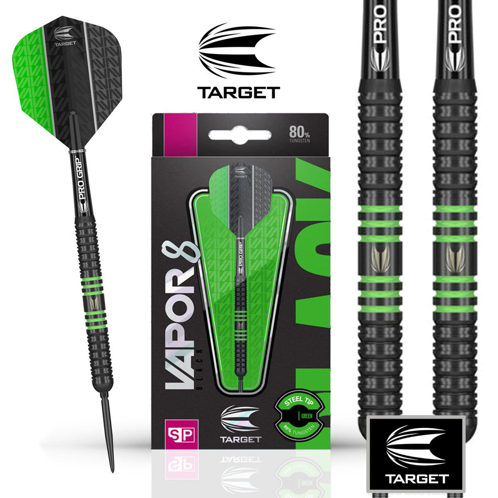 Target Vapor 8 Black Swiss Point Darts - Green - 80% Tungsten - 22g