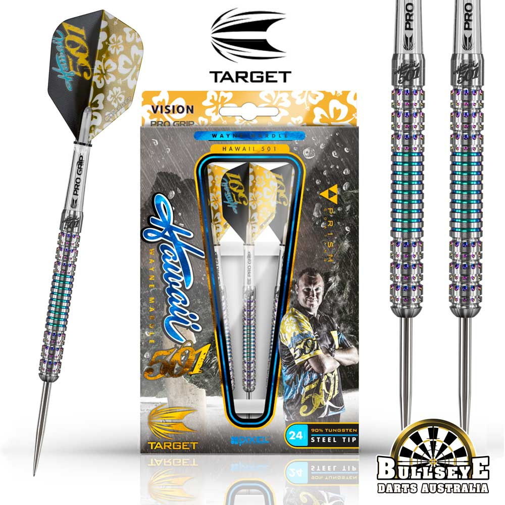 "Wayne Mardle ""Hawaii 501"" 90% Tungsten Darts 22g"