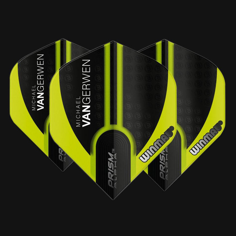 Winmau Prism Alpha Standard MvG Flights - 100 microns - Green and Black