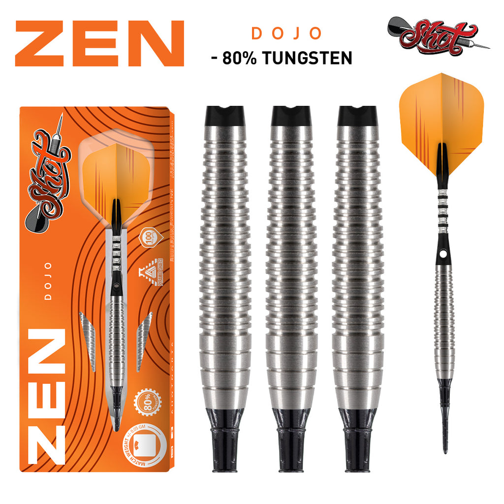 SHOT Zen Dojo SOFT TIP Dart Set - 80% Tungsten Barrels - 18g