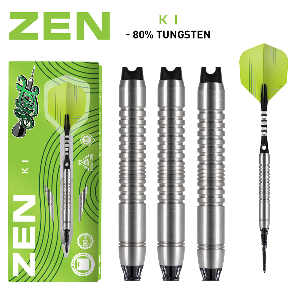 SHOT Zen Ki SOFT TIP Dart Set - 80% Tungsten Barrels - 18g
