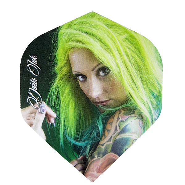 Bullseye Darts Ink Girls Dart Flights - Green Haired Girl