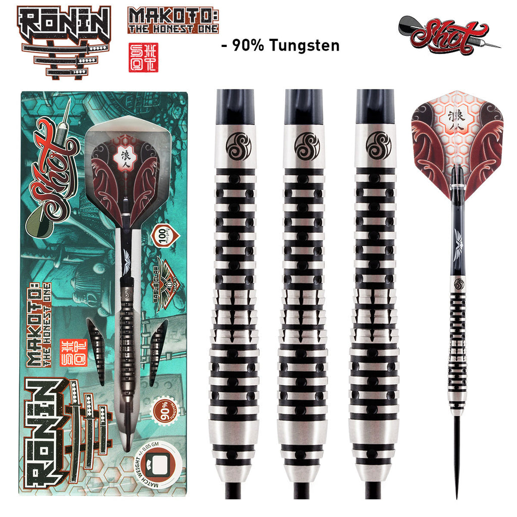 Ronin Makoto Steel Tip Dart Set - Front Weighted 90% Tungsten Barrels-24g