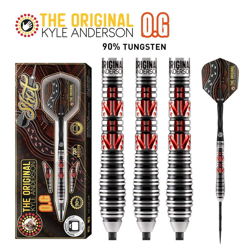 "SHOT Kyle Anderson The Original ""O.G."" Steel Tip Darts - 90% Tungsten Barrels - 26gm"