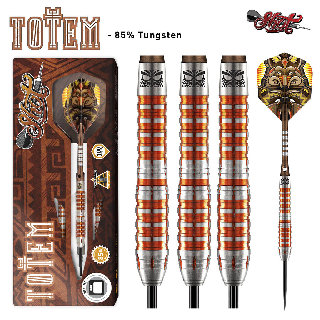 Shot Totem 3 Steel Tip Darts 85% Tungsten 22g