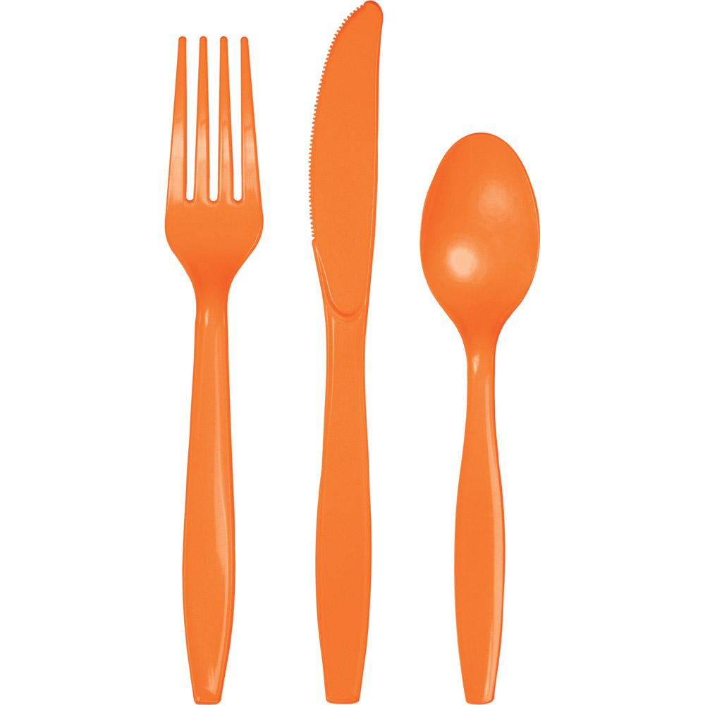 Sunkissed Orange Assorted Cutlery 24 ct