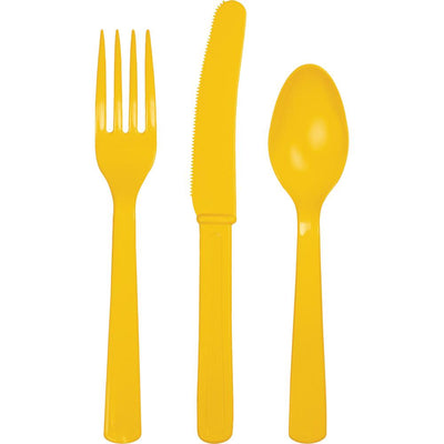 School Bus Yellow Assorted Cutlery 24 ct.