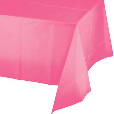 Candy Pink Plastic Tablecover 54 in. X 108 in. 1 ct