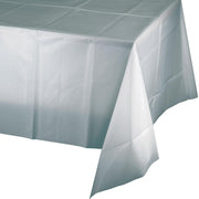 Shimmering Silver Plastic Tablecover 54 in. X 108 in 1 ct