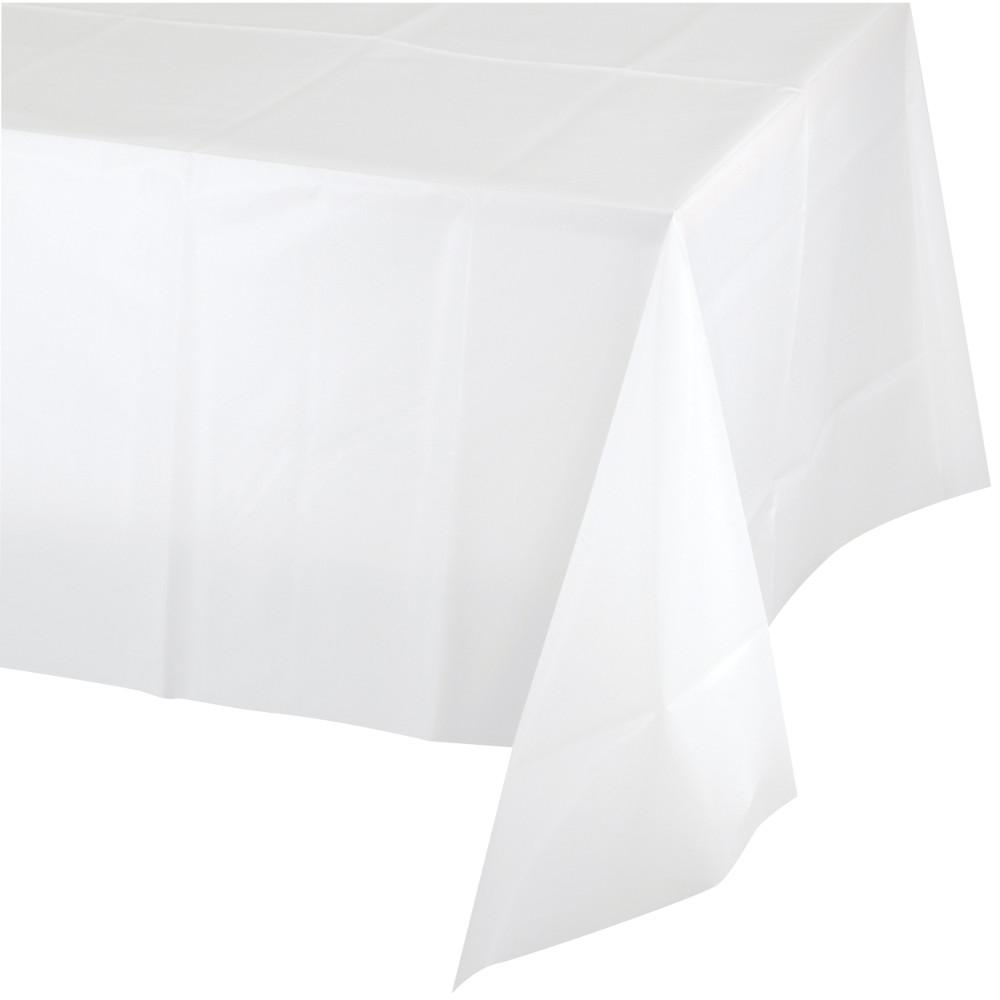 White Plastic Tablecover 1 ct. 54 in. X 108 in.