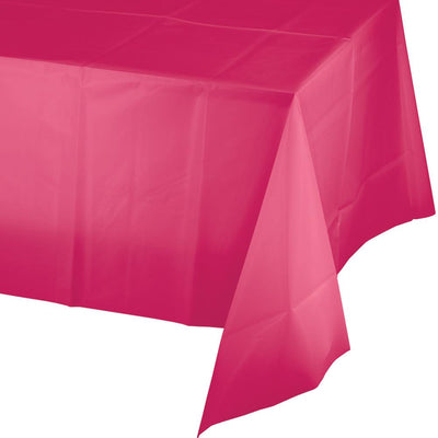 Hot Pink Plastic Tablecover 54 in. X 108 in. 1 ct