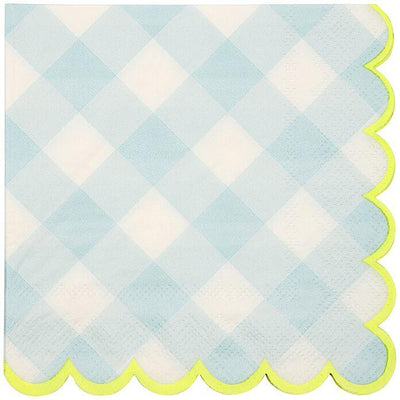 Blue Gingham Beverage Napkins   20 ct.