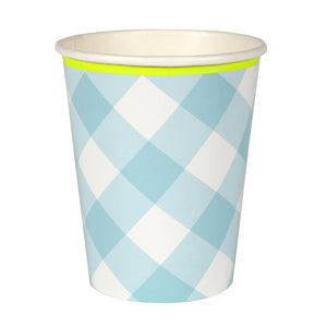 Blue Gingham Paper Cups  12 ct.