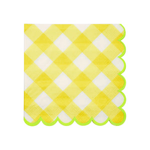 Yellow Gingham Beverage Napkins  20 ct.