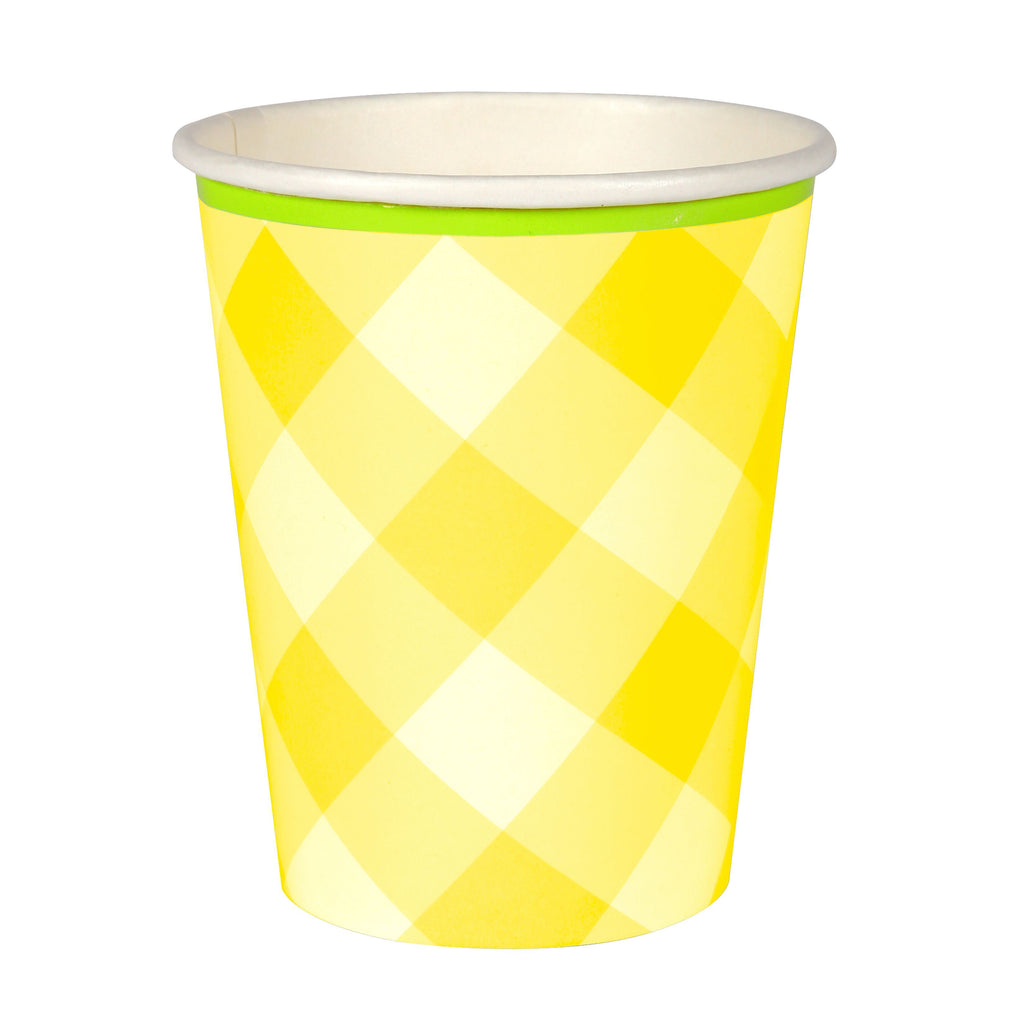 Yellow Gingham Paper Cups  12 ct.