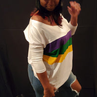 Off Shoulder White Jersey Top with Purple, Green and Gold Stripes