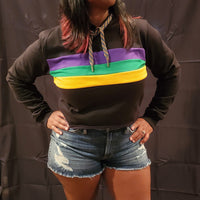 Black Crop Pullover Hoodie with Purple, Green and Gold Stripes