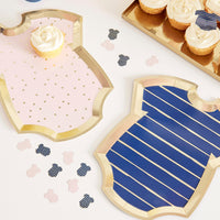 Gold Foiled Pink and Navy Baby Grow Shaped Mixed Plates